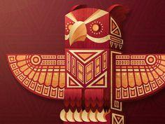 Totem_dribbble #red owl totem
