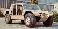 The Lamborghini Cheetah prototype on the factory grounds during the late Seventies