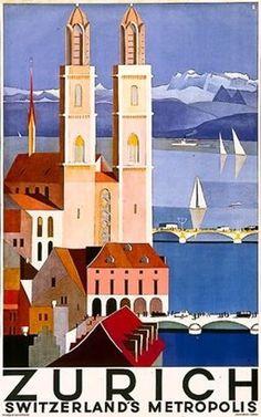 zurich switzerland metropolis - Google Images #tourism #zurich #vintage #poster #type