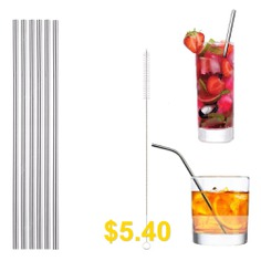 304 #Stainless #Steel #Straight #Straw #6pcs #with #Brush #- #SILVER