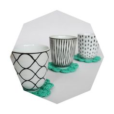 groene gehaakte bloemvormige onderzetters (6 stuks) #etsy #textile #medebycarma #coasters