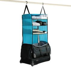 Keep organized and travel easier with this portable shelving system. #shelving #design #travel #product #system #industrial #luggage #outdoor