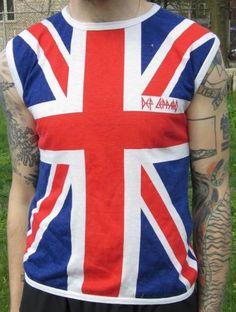 Vintage Def Leppard Union Jack Sleeveless T shirt
