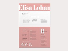 Free Feminine Resume Template with Pink Color Scheme