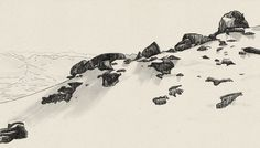 Les Diablerets, illustration, mountain scape, mountain view, scenery, pen drawing, rocks, hill