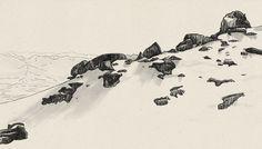 Les Diablerets #mountain #drawing #illustration #scenery #rocks #pen #scape #view