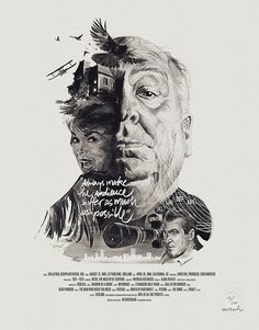 Hitchcock, cinema, illustration, birds, poster