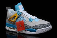 Michael Jordan Nike Shoes Retro 4 with Grey Cement and Tour Yellow/Light Blue/Wolf Grey - Mens