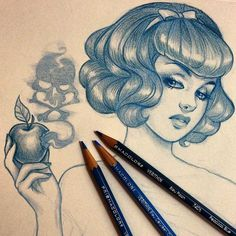 My Ugly Sins Of Desire // iplaydead: sinisterebullience: I have so much... #apple #fairytale #hair #illustration #blue #pencil #sketch #poison
