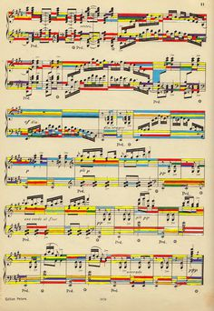 Designersgotoheaven.com Exploring the relationship between music and art/design:Â Sheet Music in Colour by Mike Lemanski. #music #sheet #colour