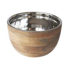 Timber Bowl with Stainless Steel Insert 14cm