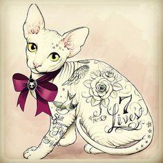 Tattoo Sketches by Tati Ferrigno | Cuded #tattoo #cat