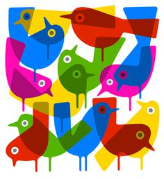 Primary Birds - Lo cole #illustration #graphicdesign
