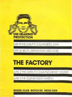 FAC 1 poster | Peter Saville | Factory Records | Cerysmatic Factory #joy #factory #division #records