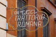 Trattoria Romana neon #lettering #romana #typography #trattoria #restaurant #signage #italy #neon