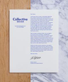 Collective Design by Mother Design #graphic design #branding #stationary #letterhead