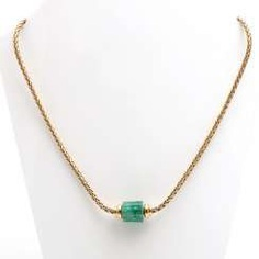 Necklace with 1 polished emerald crystal section