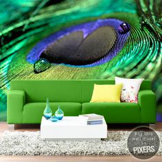 Peacock Feather #interior #mural #design #decor #home #wall #peacock #green