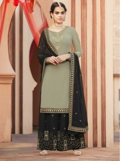 Green Embroidered Palazzo Suit - Inddus.