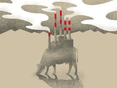 Food Inc. Poster - Art Is War - by Luke Shuman #shuman #mountain #smoke #luke #print #design #screenprint #war #cow #food #tower #poster #art #animal