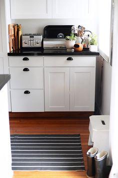white kitchen striped rug sfgirlbybay #interior #design #decor #deco #decoration