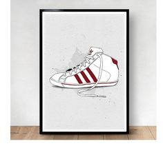 Adidas #adidas #white #red #shoes #illustration #poster