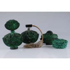 SET FOR THE LADIES ' (4 SUBJECTS).CZECH REPUBLIC, BOHEMIA, 1940-IES. COLORED GLASS (MALACHITE).