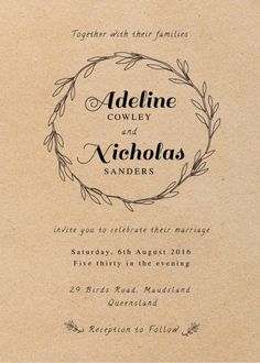 Rustic - Wedding Invitations #paperlust #weddinginvitation #weddingstationery #weddinginspiration #design #rustic #paper #cards #print #dig