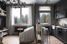 Interior design, living room, kitchen