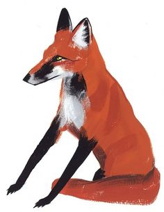 fox-sitting-hr.jpg (JPEG Image, 541x700 pixels) #illustration #fox #painting