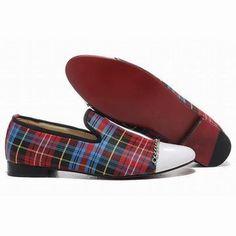 Red Christian Louboutin Rollergirl Tartan Canvas Womens Flat Red Sole Shoe #fashion