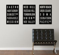 COLLECTION of 3 San Francisco Subway Sign Prints by FlyingJunction #signage #typography