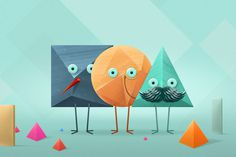 Square, sphere & a triangle! #erdokozi #geometry #wallpaper #illustration #triangle #square #minimal #sphere #erik #game #fun #characters
