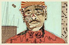 """""""YG"""" www.KyleMosher.com #kylemosher #newspaper #hiphop #illustration #portrait #vintage #art #rap"""
