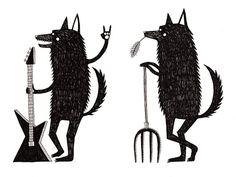 fox, wolf, black #wolf #black #fox