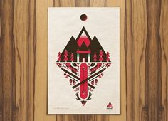 Target Chalet « Below The Clouds #red #ski #retro #snow #geometric #illustration #brown #target #chalet #winter