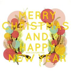 Merry Christmas and Happy New Year #branch #pink #yellow #bold #illustration #foliage #antlers #bright #graphicdesign #design #color #christmas #type #collage #tree #xmas #blue #colour #typography #happy #graphic #newyear #style