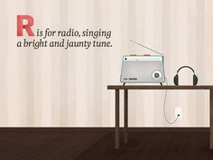 DangerDom Toy Alphabet - R is for Radio #radio #telescope #illustration #cute #mid #century #music #kids