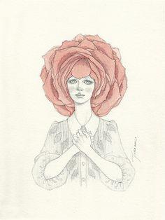 """English Rose"" #art #illustration #alice #wonderland #flower #rose #pencil #surrealism #watercolor"