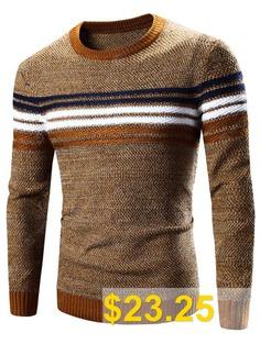 Crew #Neck #Striped #Splicing #Pattern #Long #Sleeve #Sweater #- #EARTHY