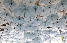 Umbrella, Minimalism, White, Gold, Ceiling