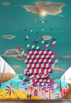 Overpass Illusion and Other Murals by Dasic #painting #mural #art