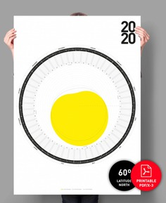 Circular-Calendar-2020-60-degree-north // Wall Calendar Latiude 60 degrees south, calendar 2020, circular calendar, minimal calendar