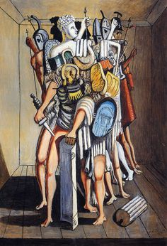 Giorgio de Chirico (1888-1978) The Invincible Cohort 1973 #painting #oil