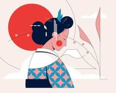 ilustracion de mujer japonesa de Calvin sprague