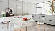 full concrete wall in living room #interior #kitchen