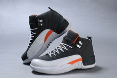 Nike Michael Air Jordan 12 Women Shoes - Orange and White and Grey - Basketball Sneaker #shoes