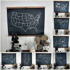 Chalkboard maps #chalkboard #maps