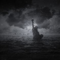 """Facing A New World"" by Pierre-Alain D. #ocean #liberty #clouds #immerged #fiction #statue #apocalypse #scifi #sea #dark #future #science"