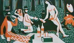 Flight+-+French+picnic.jpg 999×584 pixels #print #arts #illustration #linocut #fine